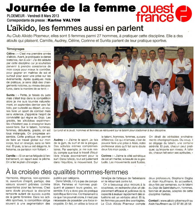 article ouest france 8 mars 2013